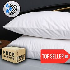 WATERPROOF TERRY COTTON SOFT PILLOW CASE PAIR PILLOW PROTECTOR COVER ZIP
