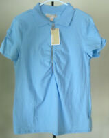 NWT Women's MICHAEL KORS Short Sleeve 1/2 Zip Top Size Large Solid Blue Cotton