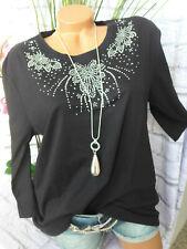 Paola Bluse Shirt Gr. 46 bis 60 Übergröße schwarz mit Pailletten (134)