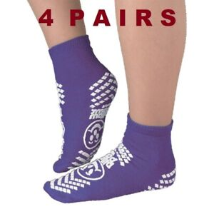 [4 Pairs] Pillow Paws Terries Double Imprint Adult Slipper Socks Purple XL