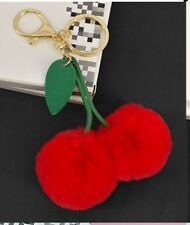 US Cute Cherry Faux Fur Ball PomPom Key Chain Ring holder Keychain Handbag Charm