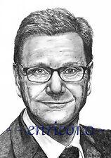 Guido Westerwelle Graphitzeichnung, Portrait, Original