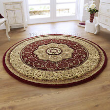 Think Rugs Heritage 4400 Traditional Hand Carved Round Rug 150 X 150 Cm Red
