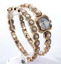 Badgley Mischka Womens Gold Pearl Crystal Bracelet and Watch Set BA/1376GBST