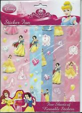 Disney Princess Party Supplies Favour Sticker Fun 5 Sheets of Reusable Stickers