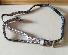 "NWOT Women's Faux Leather Braided Belt, 49"" Long, Black w/Metallic Shiny Coating"