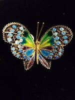 WoW!! Antique Sterling Vermeil ENAMEL BUTTERFLY Brooch pin ITALY- HALLMARKED
