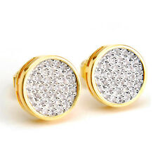Men's Iced 14k Gold Plated 10 mm Round 2 Tone Screw Back Stud Earrings BE 012 TT