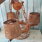Antique Rustic Stag Maple chandelier 4 lights highly ornate scrolled wood