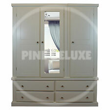 HANDMADE DEWSBURY TRIPLE 4 DRAWER IVORY MIRRORED WARDROBE  (ASSEMBLED)