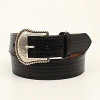 Nocona Black Leather Mens Basketweave Etched Belt