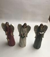 "3 Vintage Christmas Angels Carolers Glitter Wings 7"" Beautiful Wood Wreath Deco"