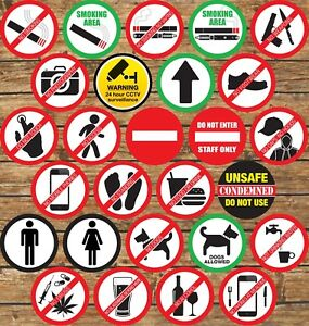 Warning Signs Stickers Self Adhesive✔CCTV✔Smoking✔Caution✔Food✔Drink✔Dogs✔Access