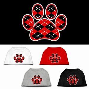 Argyle Paw Red Screen Print Dog Cat Pet Puppy Shirt