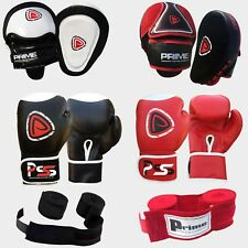 12oz boxing gloves focus pads hand wraps bandages fight punch rex leather ufc