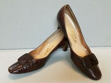 Vtg Womens 1970s/80s Size 8 Brown Alligator Shoes Pumps Buckles Billy & George
