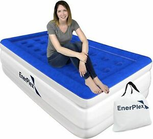 EnerPlex Dual Pump Luxury Twin Size Air Mattress Airbed with Built in Pump Raise