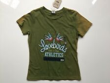 "Ladies Fossil Green Slogan T-shirt ""Lovebirds Athletics 1954"" Size: M"