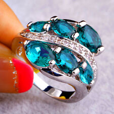 Fashion Banquet Gift Jewelry Green Topaz Gemstones AAA Silver Ring For Women