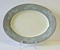 """CASTLETON Lace pattern 15"""" Oval Platter MCM 1954-1972 gray pink white"""