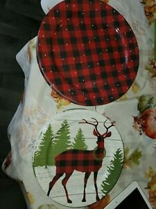 Cynthia Rowley 8pc Christmas Melamine Dinner Salad Plate Set Buffalo Plaid Deer