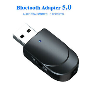 Audio Transmitter Receiver Adapter 3 in 1 USB Bluetooth 5.0 for TV PC Car AUX-UK