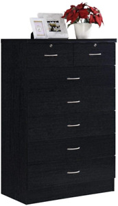Hodedah HI70DR Black 7 with Locks On 2-Top Chest of Drawers