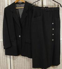 TUZZI 2-Piece Black Skirt Suit Blazer + Pencil Skirt EU40 Slubby Silk Blend Vtg.