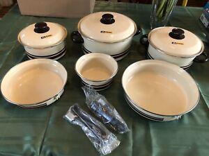 Vintage Enamelware Alumaclad Pots Set (Danby) 9 Pc (Brown Stripe) NOS