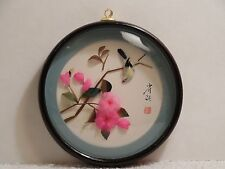 "Round Hanging Shadow Box of Feathered Bird and Pink Flowers ~ 5 1/8"" Diameter"