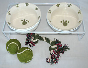 6PC DOG or CAT WHITE+GREEN PAW FOOD+WATER BOWL+METAL STAND+2 BALLS+ROPE TOY-NEW