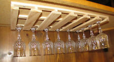 "24 wine glass stemware holder 11"" deep rack under cabinet wood"