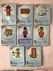 MOUSELOFT CROSS STITCH ~ IMAGES OF BRITAIN ~ POST BOX, LONDON BUS, TELEPHONE BOX