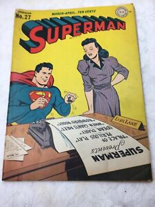 1944 GOLDEN AGE SUPERMAN COMIC # 27 L. LANE COVER