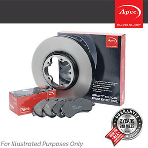 Genuine OE Quality Apec Rear Vented Drilled Grooved Brake Disc & Pad Set