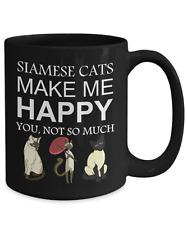 Siamese Cat Coffee Mug, Siamese Cats Make Me Happy, 15oz Black Coffee Tea Cup