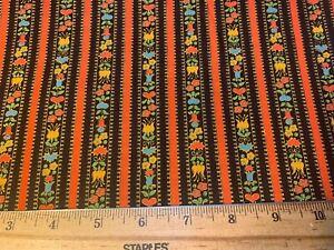 Vintage Cotton Fabric 60s70s PRETTY PA Dutch Hearts Floral Stripe 44w 1yd