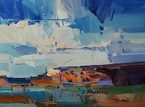 JOSE TRUJILLO Oil Painting IMPRESSIONISM CONTEMPORARY 12X16 LANDSCAPE CLOUDS NR