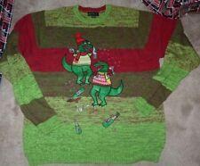 NEW T-REX XMAS Christmas Holiday UGLY Sweater Drinking Drunk Men 2XL XXL NEW NIP