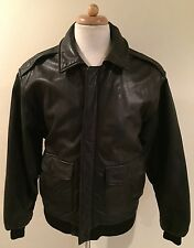 RARE VTG BANANA REPUBLIC A2 Flight Bomber Aviator Pilot Black Leather Jacket 40L