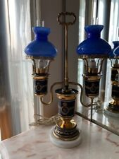 Antique navy enamel and brass lamp with blue glass shades Marble base