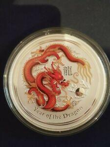 Australia 2012 Year Of The Dragon coloured 1/2 Ounce .999 Silver Coin - Lunar