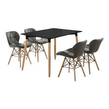 Cecilia Eiffel Dining Set - 4 x Leather Padded Chairs & Black Halo Dining Table