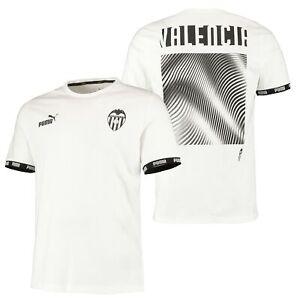 Puma Official Mens Valencia CF Culture Football Fans T-Shirt Tee Top White