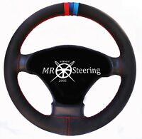 FOR BMW X5 E53 99-06 BLACK REAL LEATHER STEERING WHEEL COVER M3 /// STRIPES