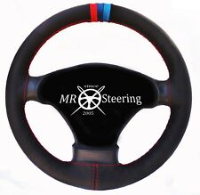 FOR BMW E36 1990-2000 BLACK REAL LEATHER STEERING WHEEL COVER M3 /// STRIPES