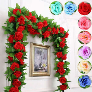 8Ft Artificial Rose Garland Silk Flower Vine Ivy Wedding Garden String Decor A++