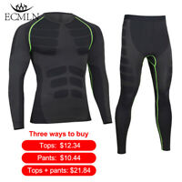 Mens Quick Dry Thermal Fitness Compression Tracksuits Underwear Sets/Tops/Bottom
