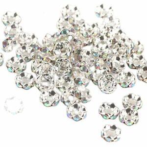 50pcs Crystal Rhinestone Loose Beads 4/6/8/10mm Rondelle Spacer Bead DIY Jewelry