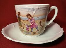 Victorian Late 1800's-early 1900's Cup & Saucer Girls Throw The Doll Game w/Dog